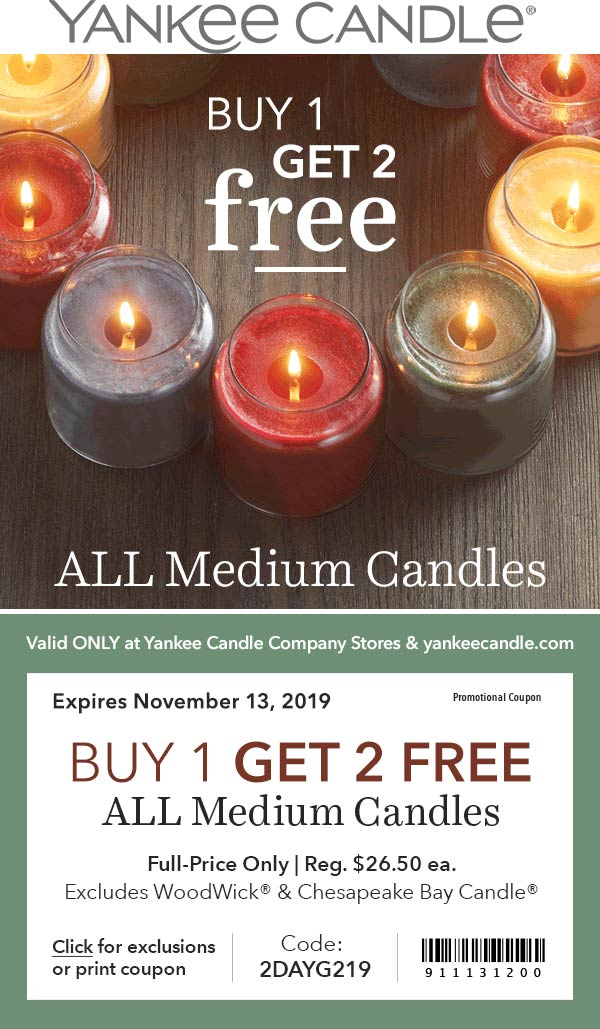 Yankee Candle Coupon December 2019 3-for-1 on candles at Yankee Candle, or online via promo code 2DAYG219