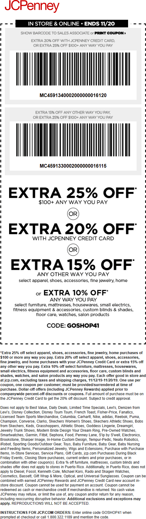 JCPenney Coupon January 2020 15-25% off at JCPenney, or online via promo code GOSHOP41
