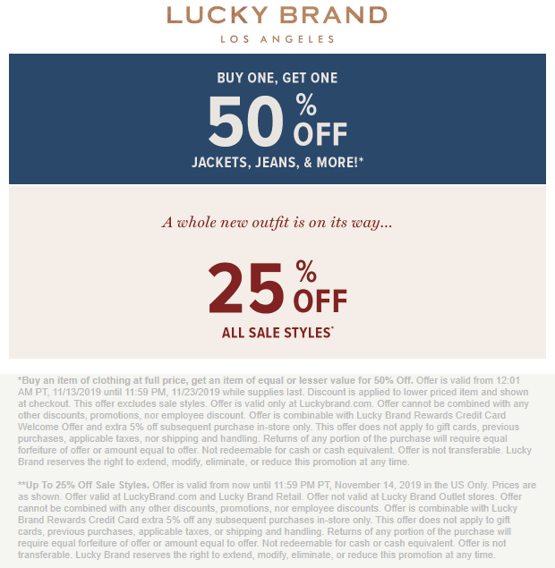 Lucky Brand Coupon December 2019 Second item 50% off online at Lucky Brand