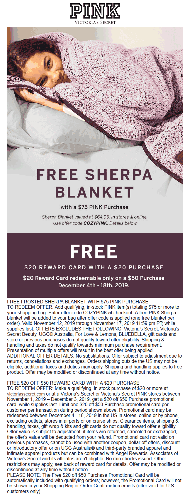 PINK Coupon January 2020 Free sherpa blanket with $75 spent at PINK, or online via promo code COZYPINK