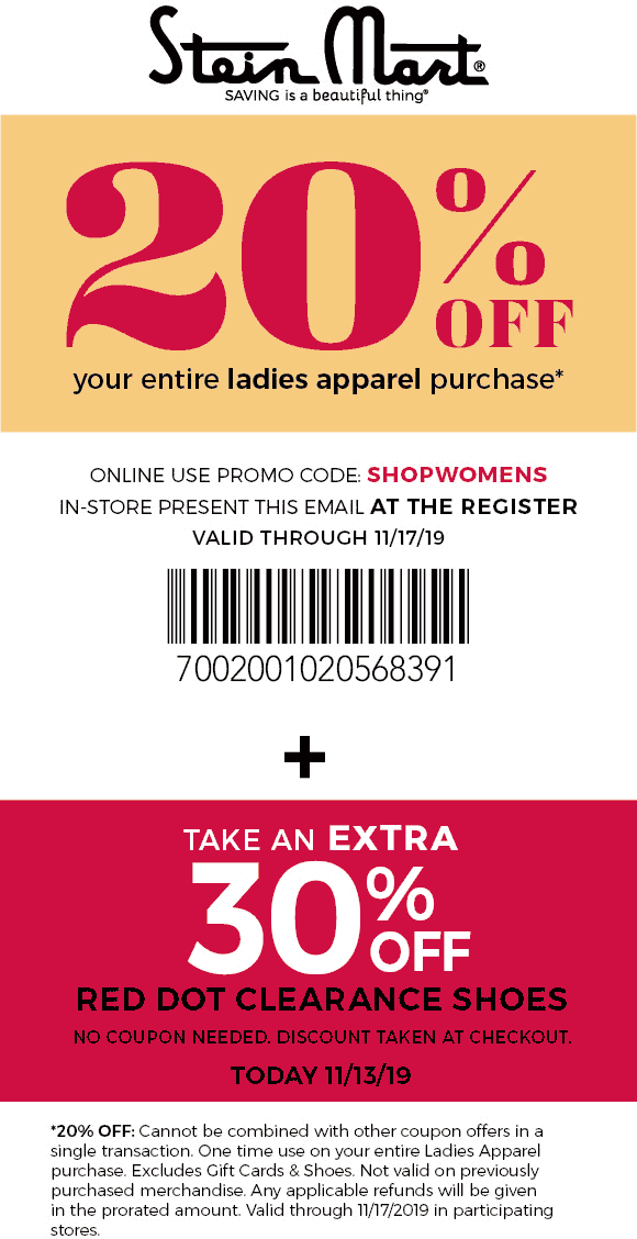 Stein Mart Coupon January 2020 20% off ladies at Stein Mart, or online via promo code SHOPWOMENS
