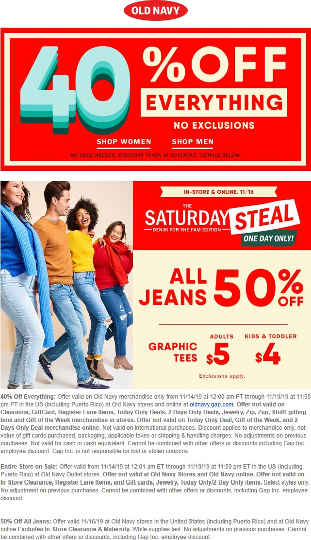 Old Navy Coupon December 2019 40% off everything & more at Old Navy, ditto online