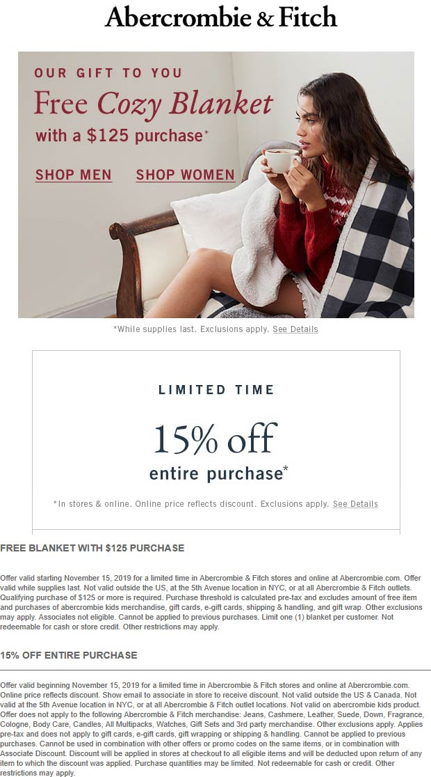 Abercrombie & Fitch Coupon January 2020 15% off everything + free blanket with $125 at Abercrombie & Fitch, ditto online