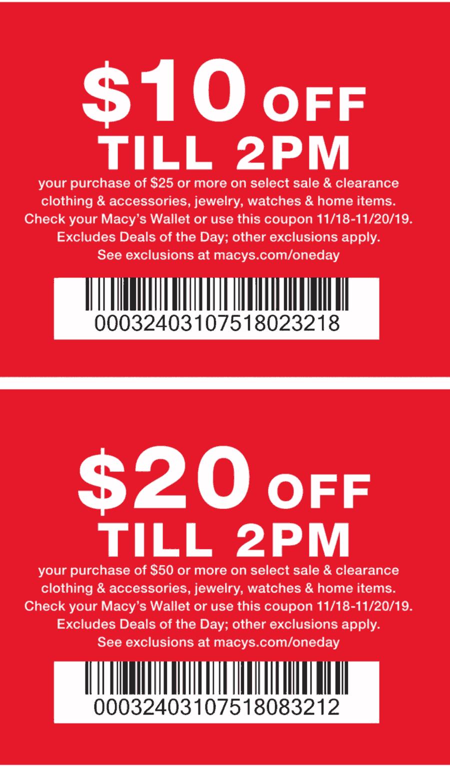 Macys Coupon December 2019 $10 off $25 & more 18-20th at Macys