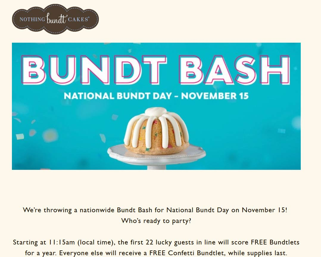 Nothing Bundt Cakes Coupon December 2019 Free bundtlet cake today at Nothing Bundt Cakes