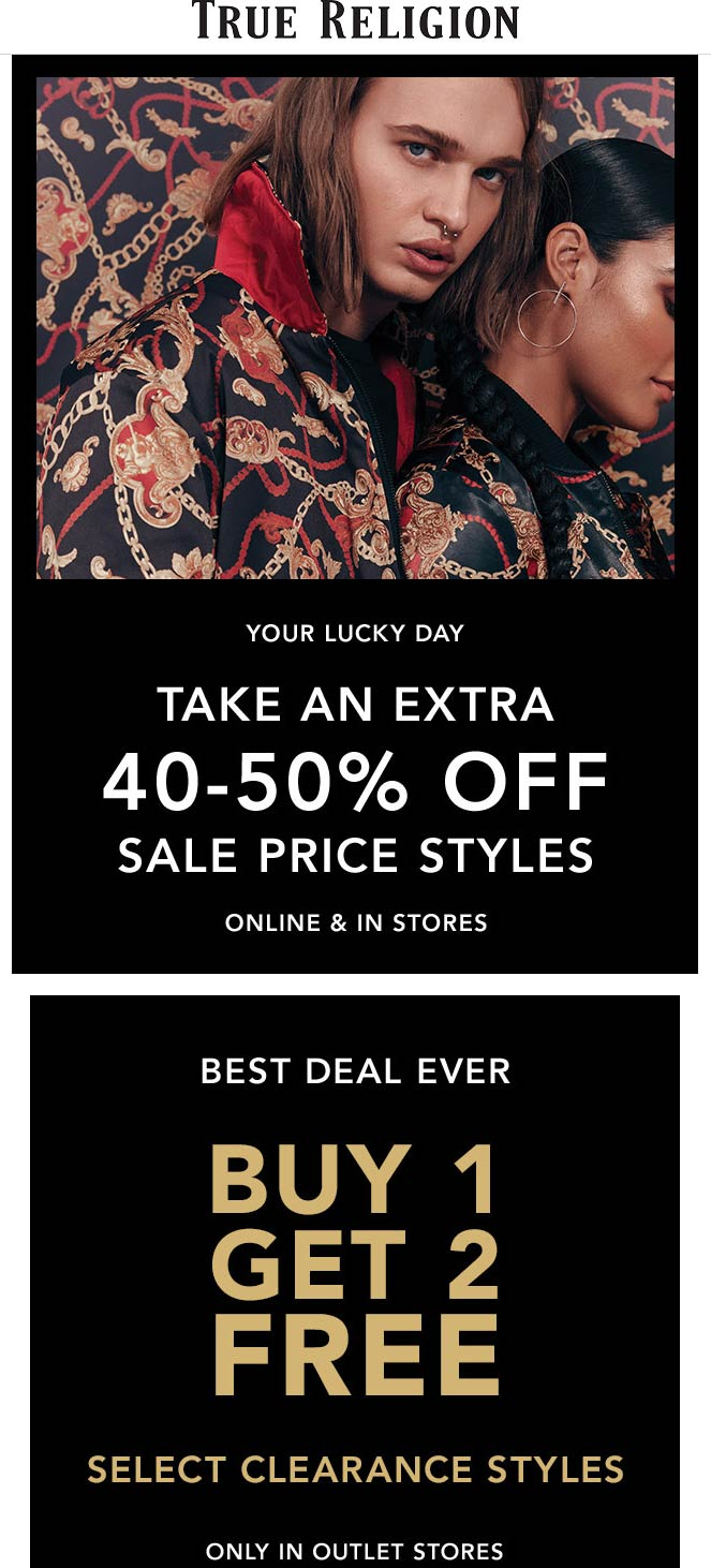 True Religion Coupon December 2019 40-50% off sale items & more at True Religion, ditto online