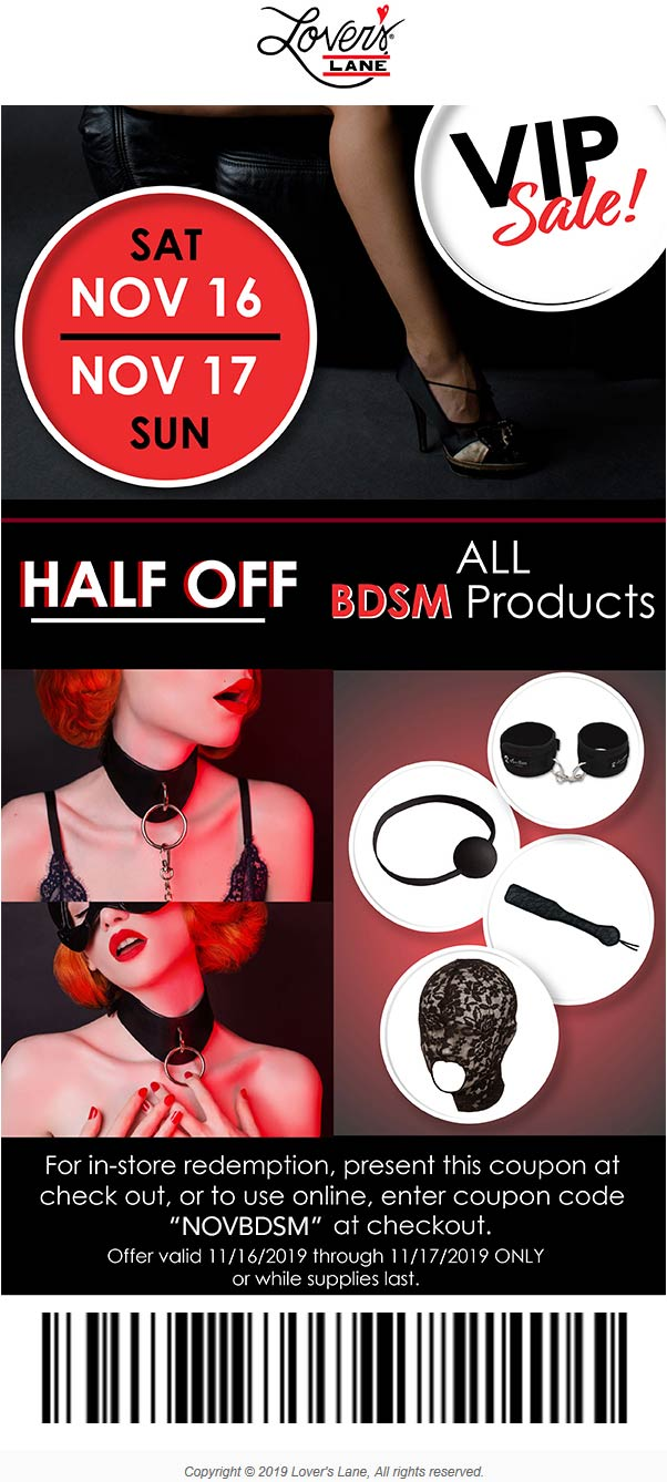 Lovers Lane Coupon January 2020 50% off various products at Lovers Lane, or online via promo code NOVBDSM