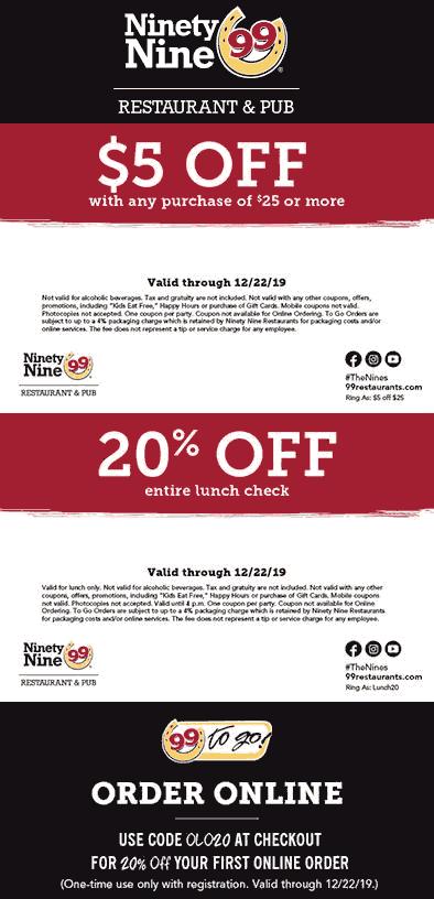 Ninety Nine Coupon January 2020 $5 off $25 & more at Ninety Nine restaurants