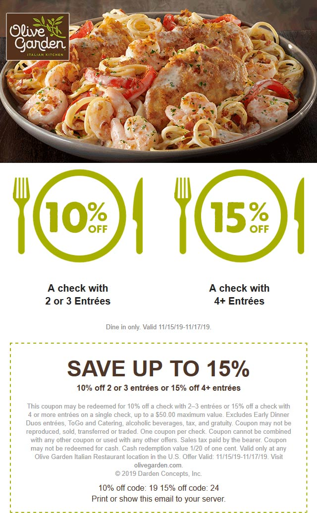 Olive Garden Coupon January 2020 10-15% off at Olive Garden restaurants