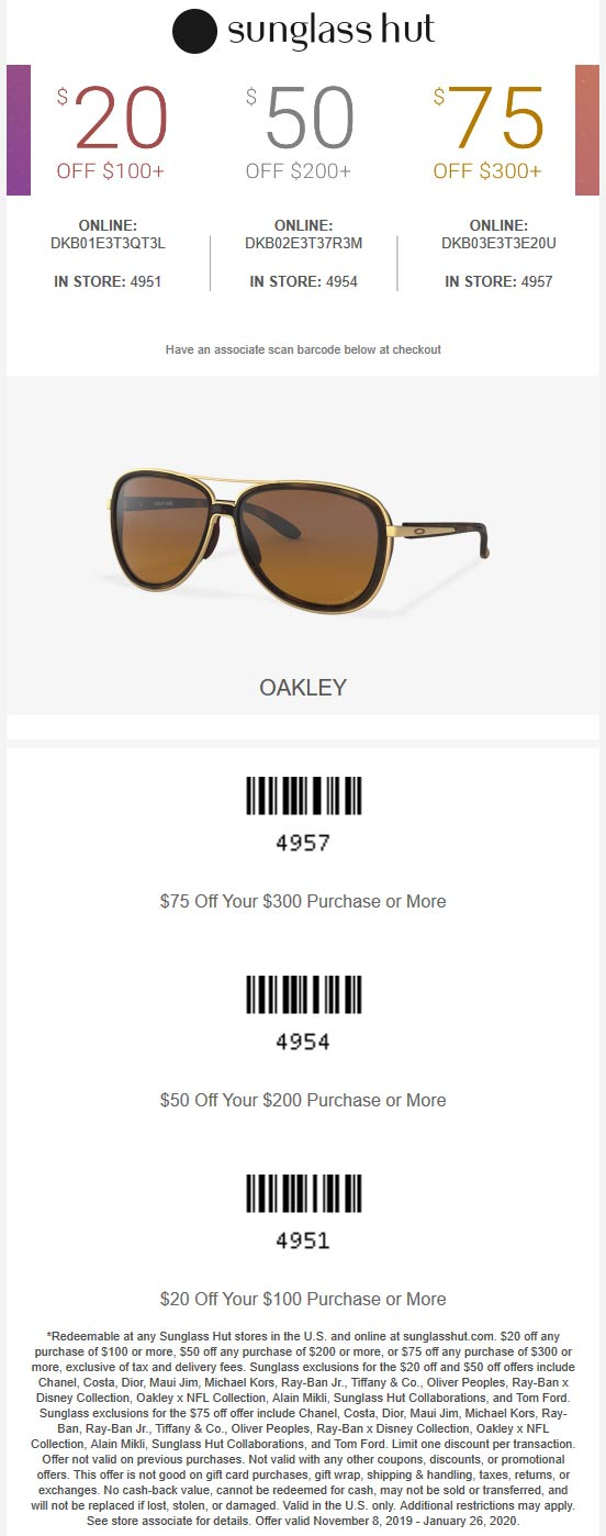 Sunglass Hut Coupon December 2019 $20 off $100 & more at Sunglass Hut, or online via promo code DKB01E3T3QT3L