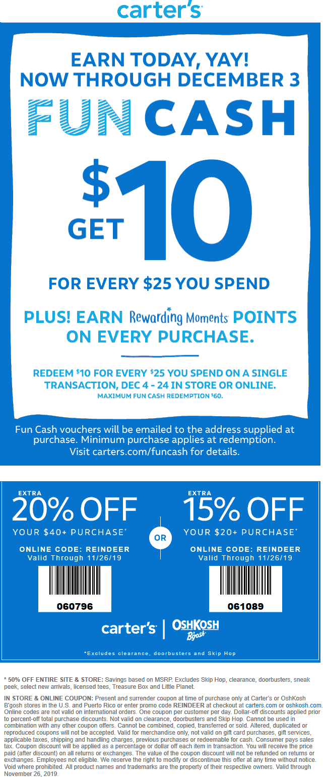 Carters Coupon January 2020 Extra 15-20% off + 50% off store & more at Carters, or online via promo code REINDEER
