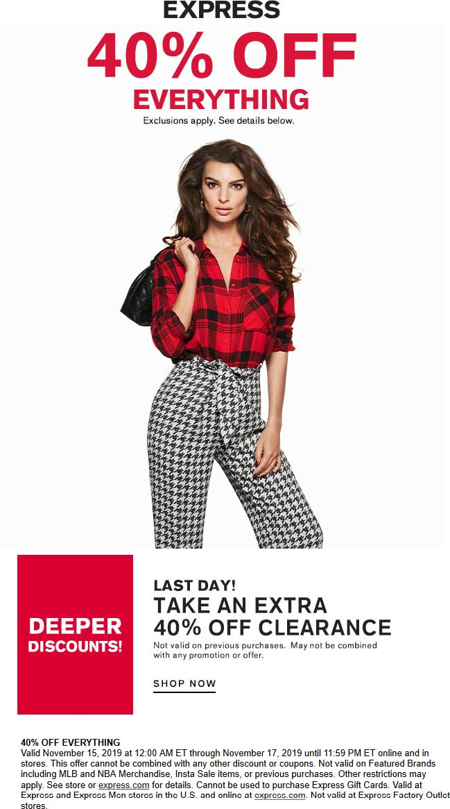 Express Coupon January 2020 40% off everything today at Express, ditto online