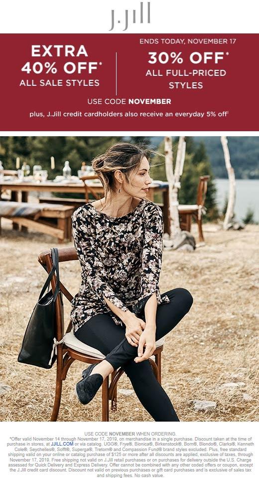 J.Jill Coupon December 2019 30-40% off today at J.Jill, or online via promo code NOVEMBER