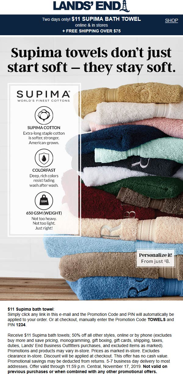 Lands End Coupon December 2019 50% off today at Lands End, or online via promo code TOWELS and pin 1234