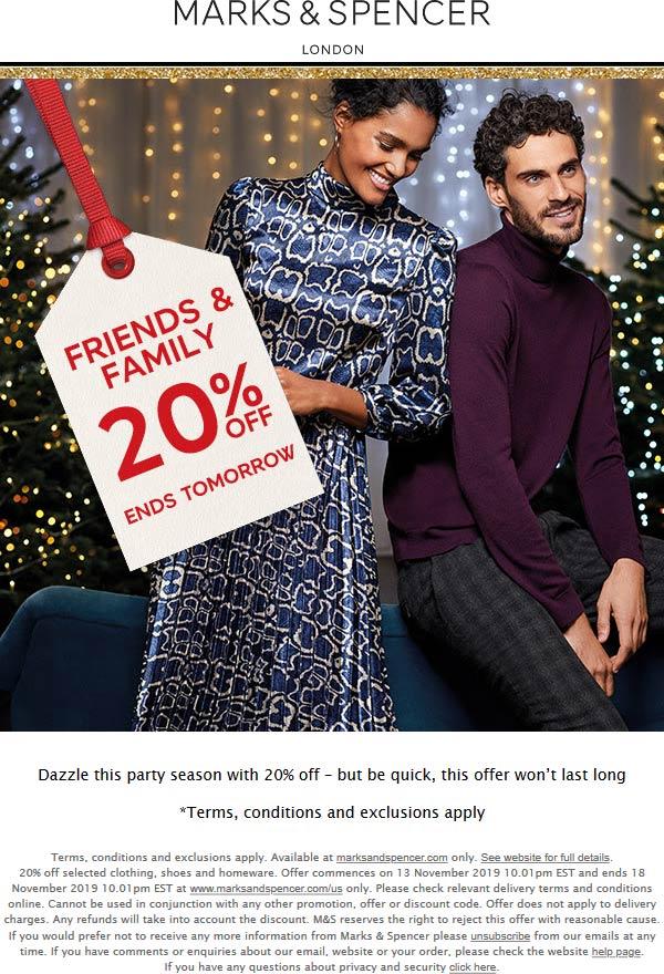 Marks & Spencer Coupon January 2020 20% off online at Marks & Spencer