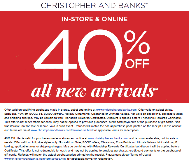 Christopher And Banks Coupon January 2020 40% off new arrivals at Christopher and Banks, ditto online