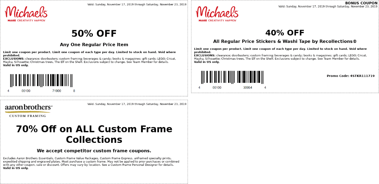 Michaels Coupon January 2020 50% off a single item at Michaels, or 40% off everything online picked up in-store via promo THANKS40W