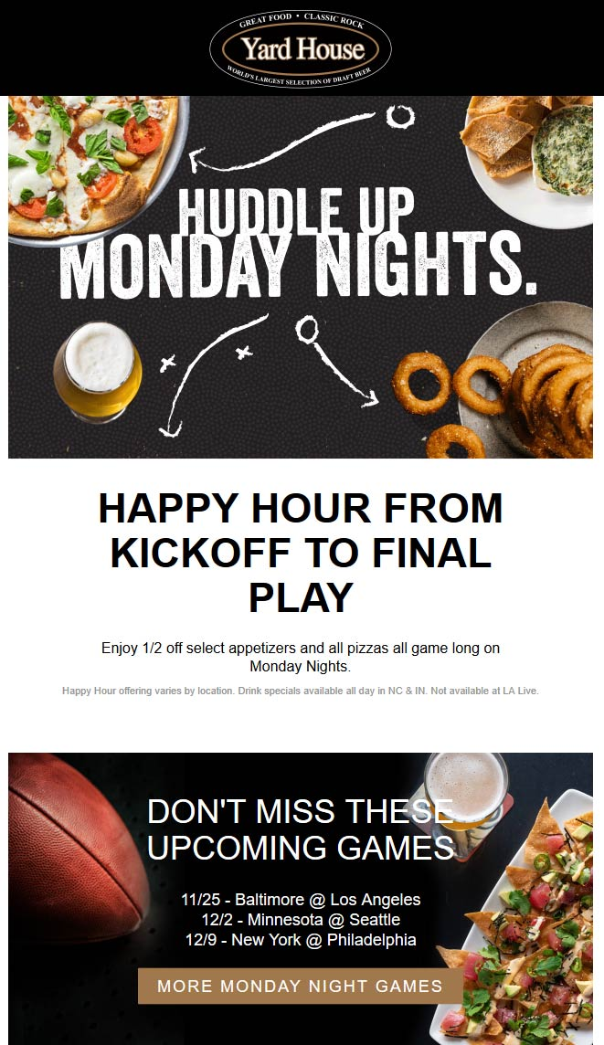 Yard House Coupon December 2019 50% off appetizers during games Mondays at Yard House restaurants