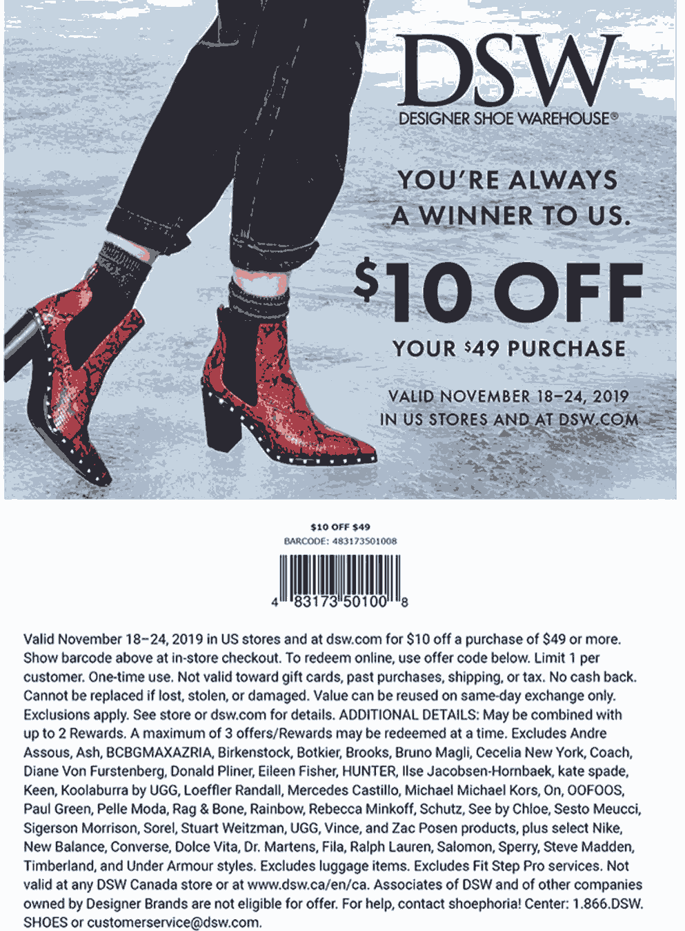 DSW Coupon December 2019 $10 off $49 at DSW Shoe Warehouse