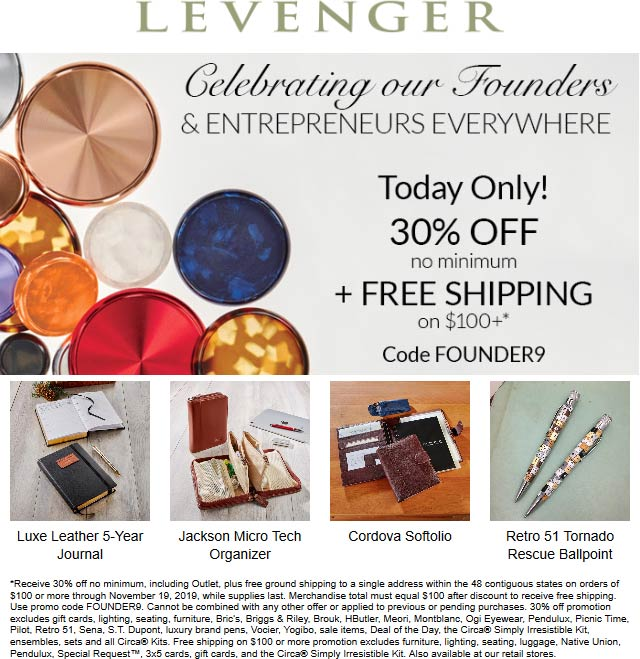 Levenger Coupon January 2020 30% off today at Levenger, or online via promo code FOUNDER9