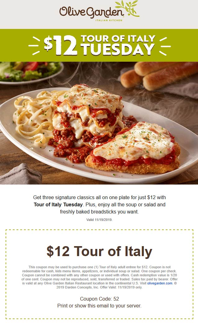 Olive Garden Coupon December 2019 Tour of Italy plate + breadsticks + salad = $12 today at Olive Garden