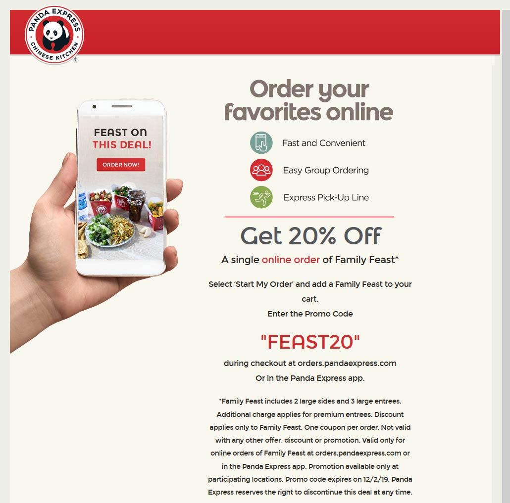 Panda Express Coupon January 2020 20% off family feast online at Panda Express restaurants via promo code FEAST20