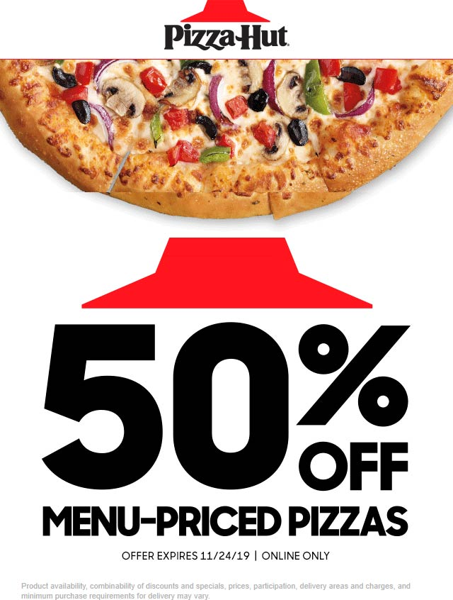 Pizza Hut Coupon December 2019 50% off pizzas online at Pizza Hut