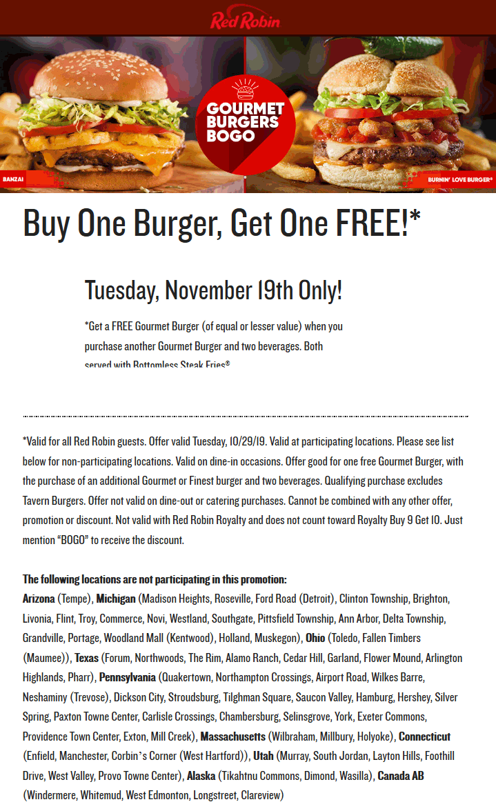 Red Robin Coupon January 2020 Second cheeseburger free today at Red Robin