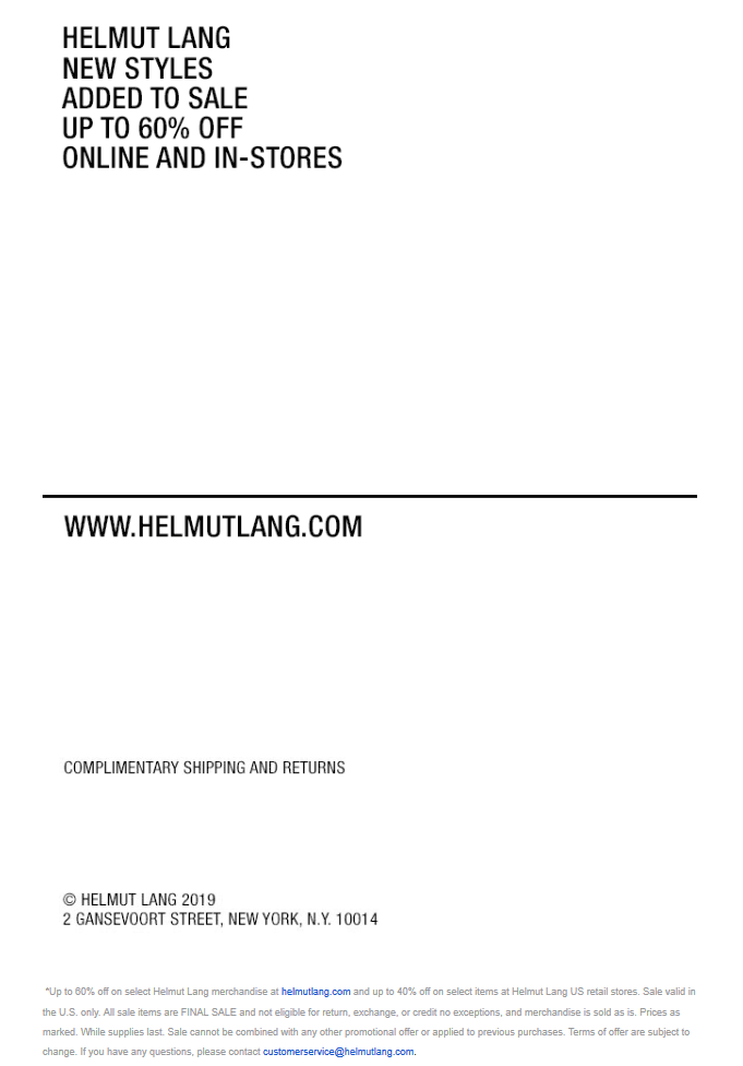 Helmut Lang Coupon January 2020 40% off sale going on at Helmut Lang, 60% online