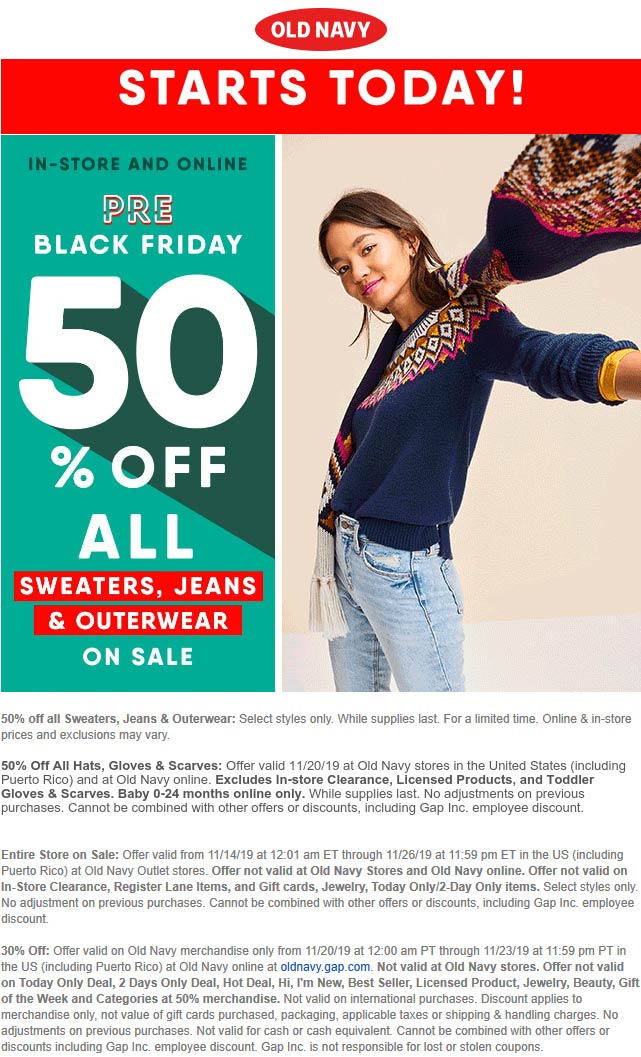 Old Navy Coupon January 2020 50% off jeans sweaters & outerwear at Old Navy, ditto online