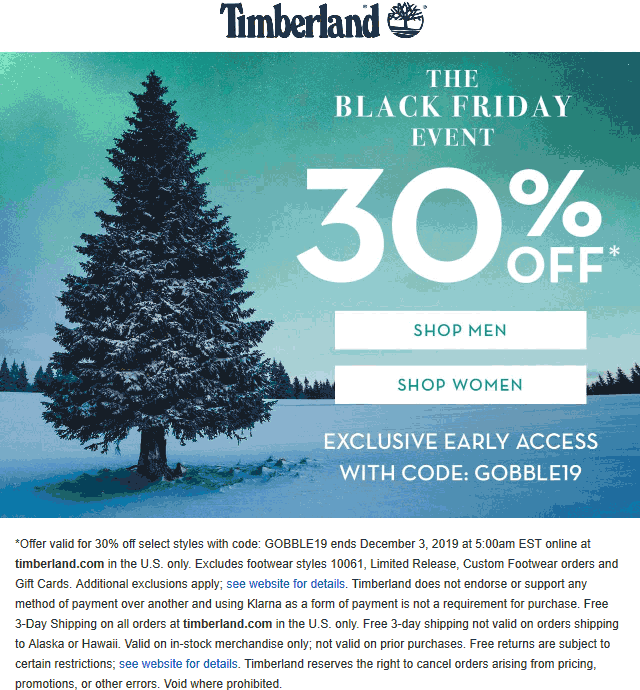 Timberland Coupon December 2019 30% off online at Timberland via promo code GOBBLE19