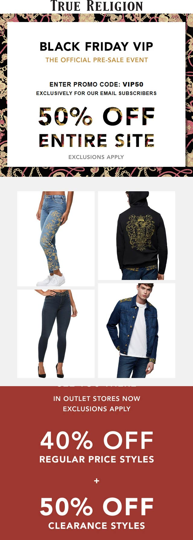 True Religion Coupon January 2020 50% off everything online at True Religion via promo code VIP50