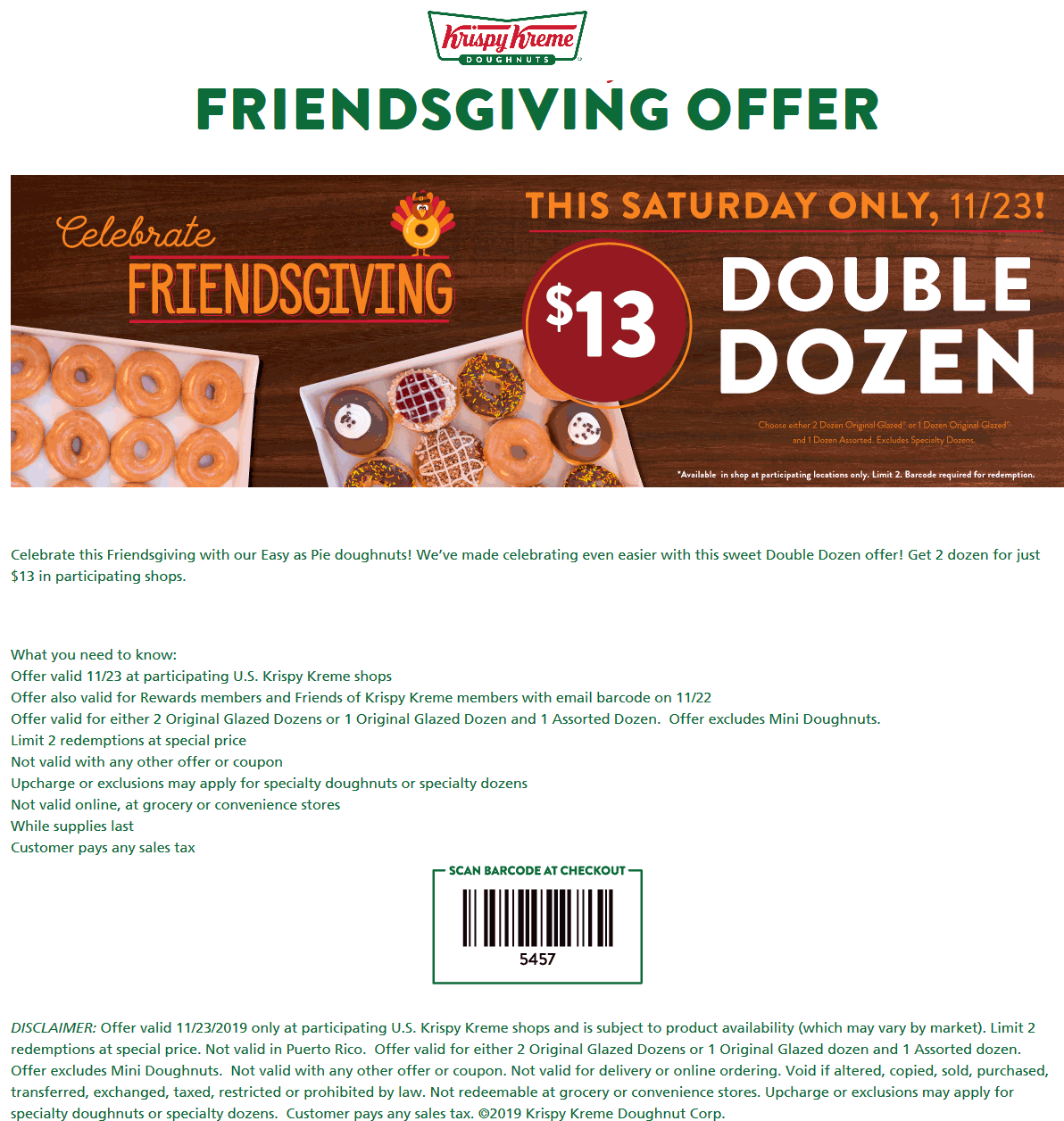 Krispy Kreme Coupon January 2020 2 dozen for $13 Saturday at Krispy Kreme doughnuts