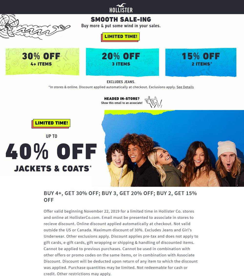 Hollister Coupon December 2019 15-40% off at Hollister, ditto online