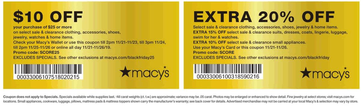 Macys Coupon January 2020 $10 off $25 & more at Macys, or online via promo code SCORE25