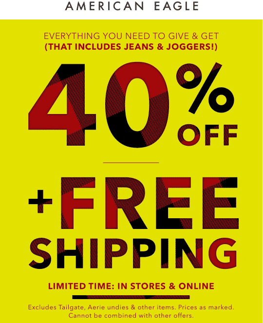 American Eagle Coupon December 2019 40% off at American Eagle, ditto online with free shipping