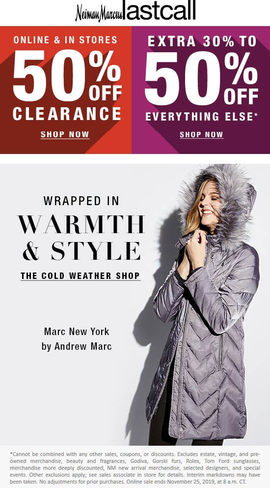 Last Call Coupon January 2020 30-50% off everything at Neiman Marcus Last Call, dito online