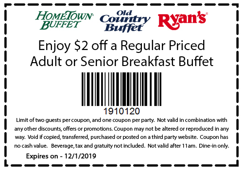 Hometown Buffet Coupon January 2020 $2 off breakfast at Ryans, Hometown Buffet & Old Country Buffet