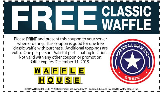 Waffle House Coupon January 2020 Free waffle at Waffle House
