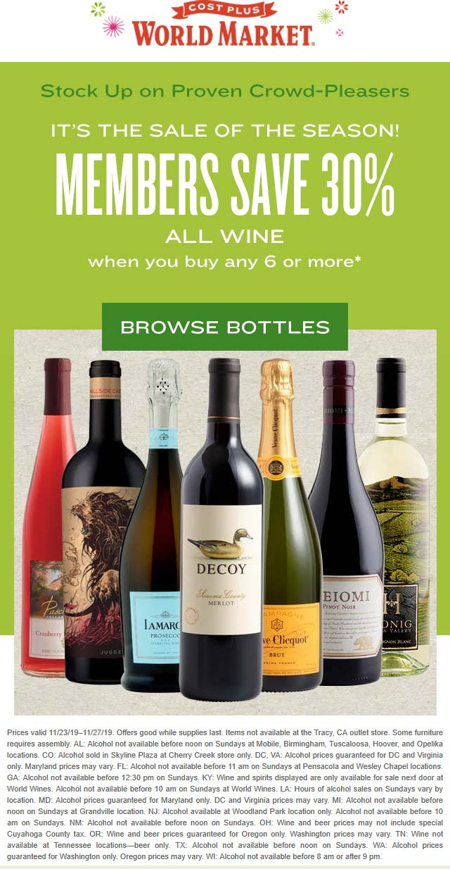 World Market Coupon January 2020 30% off 6+ bottles of all wine at World Market