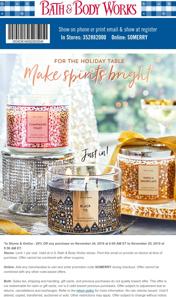 Bath & Body Works Coupon December 2019 20% off today at Bath & Body Works, or online via promo code SOMERRY