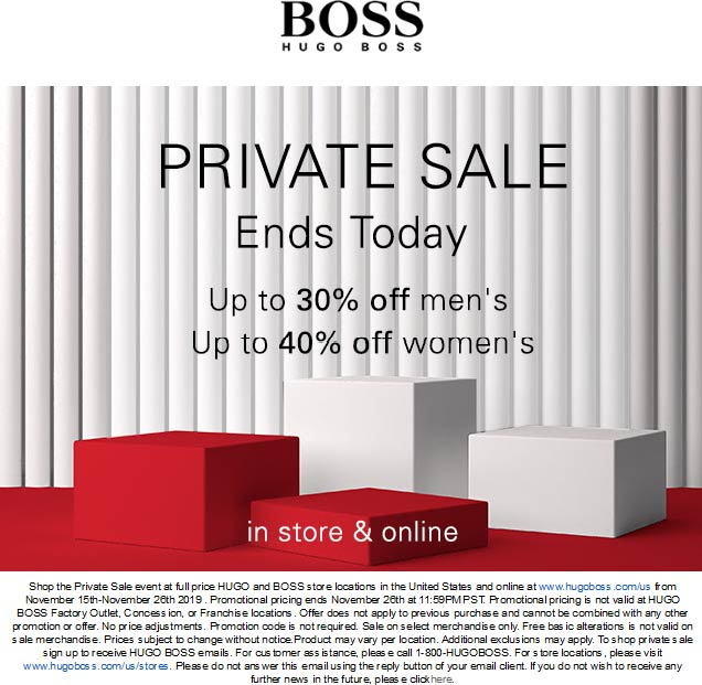 BOSS Coupon December 2019 30-40% off at HUGO and BOSS, ditto online