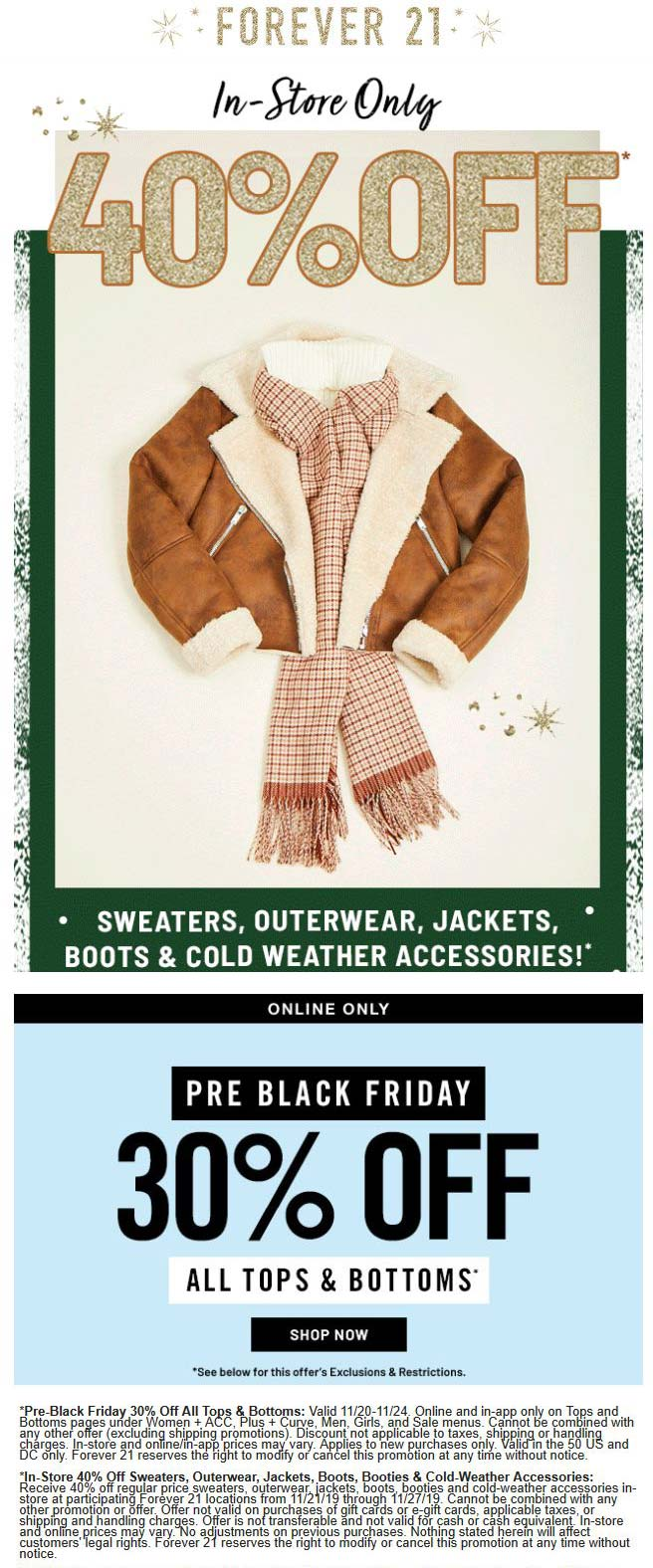 Forever 21 Coupon December 2019 40% off cold weather & more at Forever 21