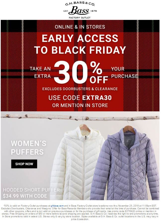 Bass Factory Outlet Coupon December 2019 Extra 30% off at Bass Factory Outlet, or online via promo code EXTRA30