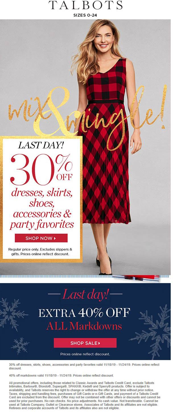 Talbots Coupon January 2020 30% off today at Talbots, ditto online
