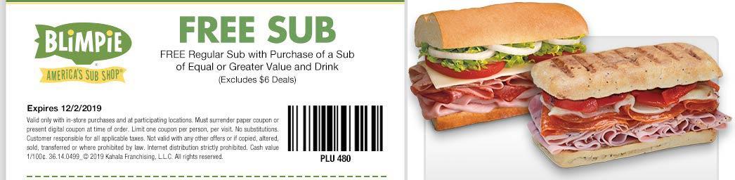 Blimpie Coupon December 2019 Second sub sandwich free at Blimpie