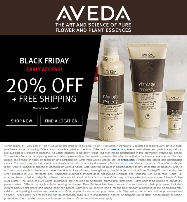Aveda Coupon December 2019 20% off at AVEDA, ditto online