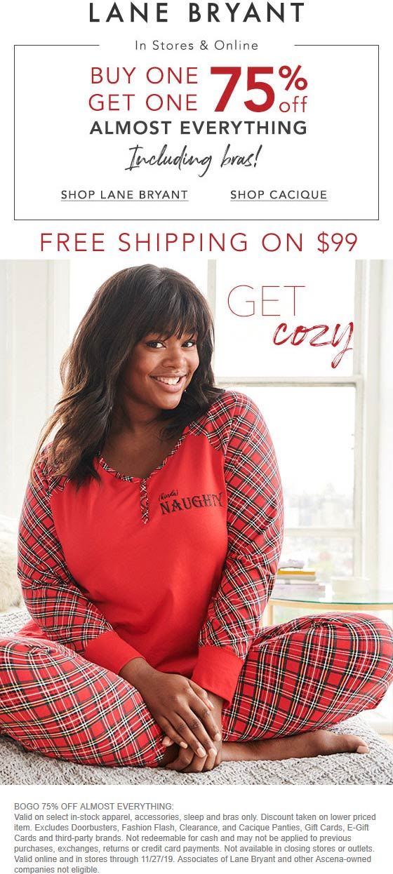 Lane Bryant Coupon January 2020 Second item 75% off at Lane Bryant, ditto online
