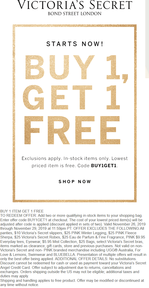 Victorias Secret Coupon December 2019 Second item free online at Victorias Secret via promo code BUY1GET1