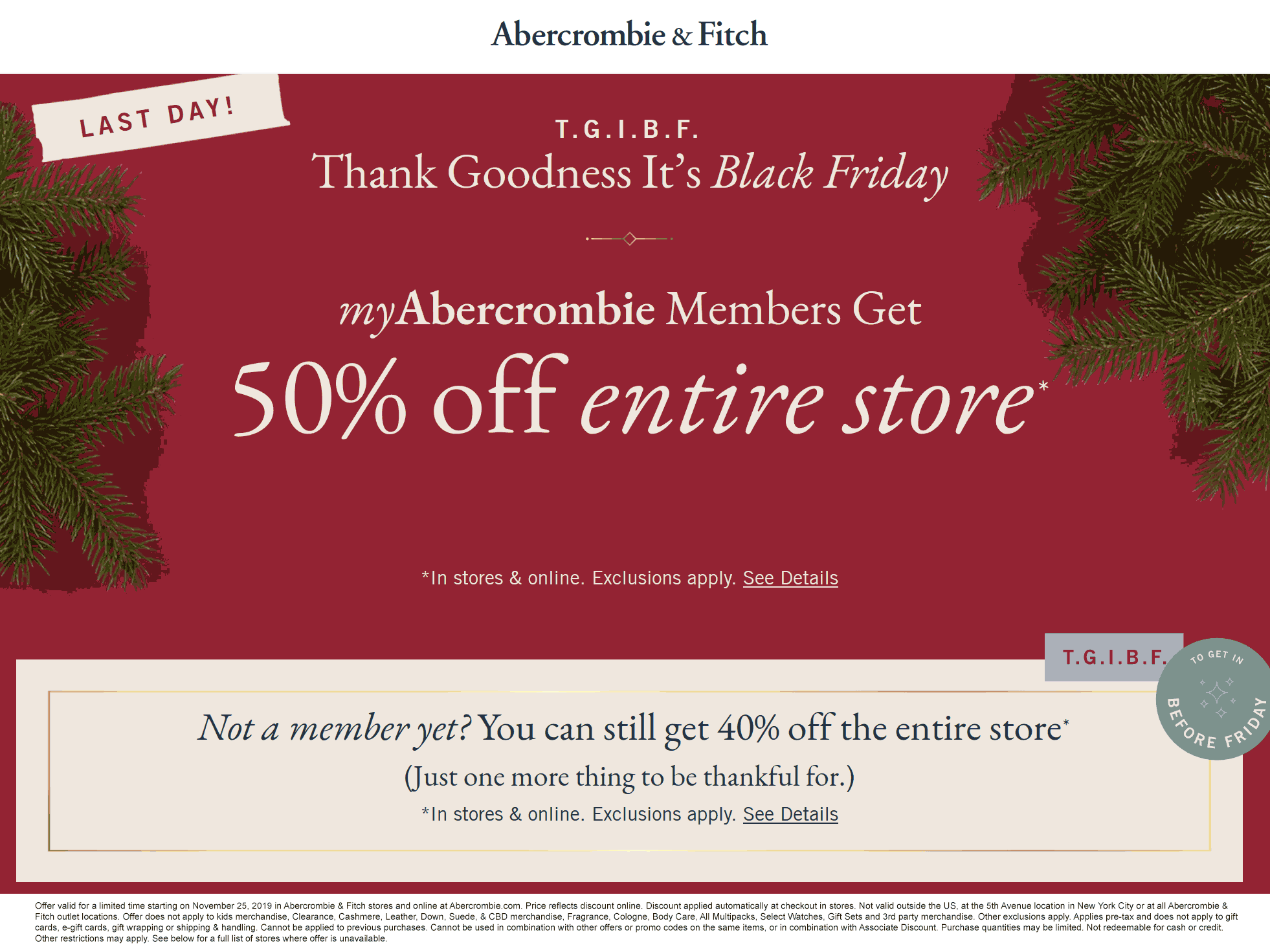 Abercrombie & Fitch Coupon January 2020 40% off everything today at Abercrombie & Fitch, ditto online